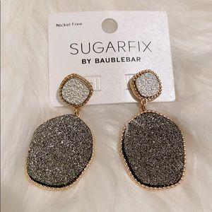 NEW Gray Shiny Stone Glittery Dangle Earrings